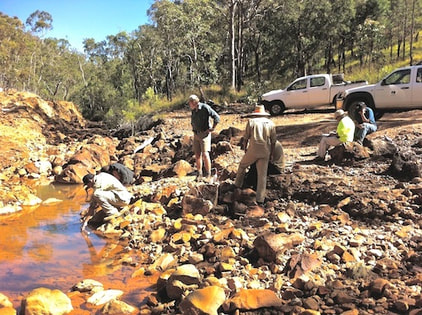 Mbabaram Traditional Owners testing water at Anniversary Mine near Herberton